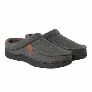 Dearfoams Men Indoor Outdoor Slip On Mule Slippers Sizes S-XL 7-14 Heather Grey