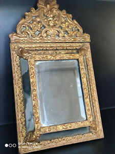 Antique ornate 19th c handmade wooden brass embossed wall mirror