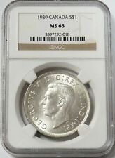 1939 SILVER CANADA ROYAL VISIT $1 DOLLAR COIN NGC MINT STATE 63