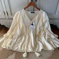 L New Bohemian Ruffled Lace Tassel Blouse Vtg 70s Insp Women's Size LARGE NWT