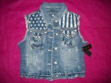 Miss Me,  Stars & Stripes Distressed Style Denim Vest. NWTs. Size: Large