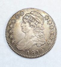 """BARGAIN 1814 Capped Bust/Lettered Edge """"E"""" over """"A"""" Silver Half Dollar XF O-108"""