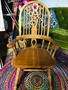 Wooden Armchair Reconditioned, Excellent Condition, 42.5in x 20.5in x 18in