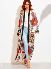 Women's Japanese Style Nylon Flower Pattern Kimono Long Vesion Coat Jacket +Belt