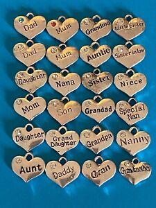 Tibetan Silver Heart Rhinestone Pendants Mum Dad Aunt Nana Sister & Relatives