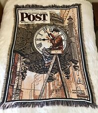 Norman Rockwell The Clock Mender Saturday Evening Post Tapestry Throw 60 x 45