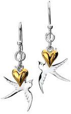 Pure Origins Sterling Silver 925 Swallow Bird Gold Plated Heart Drop Earrings
