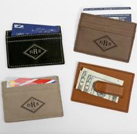 Personalized Monogram Leatherette Money Clip   Wallet