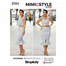 Simplicity Sewing Pattern 8394 Mimi G Pencil Wiggle Skirt Wrap Tie Bra Top 20-28