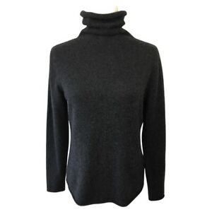 Eileen Fisher Scrunch Neck Fine Gauge Cashmere Pullover Sweater Charcoal Gray M