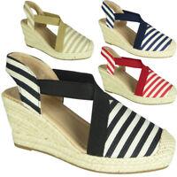 Womens Ladies Slingback Espadrilles Hessian Shoes Mid Heel Wedge Sandals Size