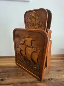 Art Deco Galleon Design Wood Hotel Newspaper / Letter Rack - Ship Unique