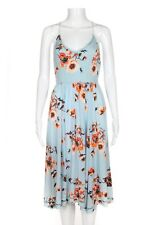 COOPERATIVE Summer Dress 0 Floral Light Blue Spaghetti Strap Open Back Cocktail