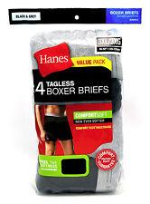 4 Hanes Black Gray 3XL 48-50 Inch Boxer Briefs Comfort Flex Waistband 120-125 CM