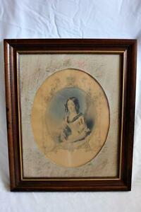 Vintage Hand Sketched Engraving of Young Victorian Woman Framed & Matted