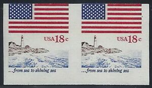 """1891a - Imperf & Miscut Error Pair """"Flag and Anthem"""" Lighthouse Mint NH"""