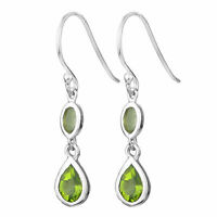 925 Sterling Silver Blue Topaz Garnet Peridot  Gemstone Earring Jewelry Earrings
