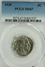 1935 Buffalo Nickel : PCGS MS67 Blazing White