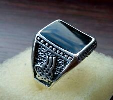 Men's  silver plated ring with imitation black Onyx size S