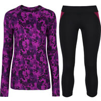 Women's Long Sleeve Gym Sports Tops & 3/4 Cropped Leggings Fitness Pants Bottoms