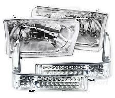 CLEAR CHROME HEADLIGHT & LED BUMPER LIGHT SET FOR FORD F250 F350 SUPERDUTY 99-04
