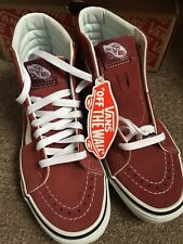 Vans SK8 Hi Tops Size 4 Women's Rust Red Trainers Shoes Leather Boots New Hi Top