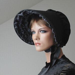 Viktorianische Haube mit anthrazit Rüsche - Victorian Bonnet, Steampunk, Lolita