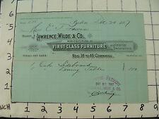 Original Vintage BILLHEAD:1887 Lawrence Wilde & co FIRST CLASS FURNITURE