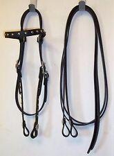 Bridle Western Headstall split Reins black beta silver Spots conchos horse tack