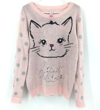 Christmas Cat Sweater Women's Size 2XL Pink Meowy Christmas Sequins