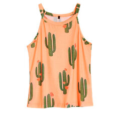 Summer Sexy Women's Cactus Printed Round Neck Tank Sleeveless Loose T-Shirt