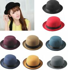 Women Hard Felt Black Band Bowler Derby Oval Top Bucket Cloche Hats Caps