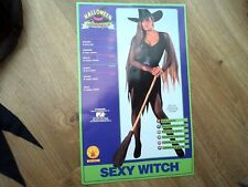 Adult Sexy Gothic Black Wicked Witch Fancy Dress Halloween Costume Ladies Outfit