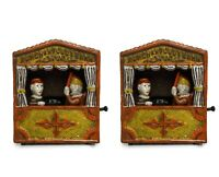 ANTIQUE / VINTAGE STYLE CAST IRON MECHANICAL PUNCH AND JUDY MONEY BOX BANK 2 Pc
