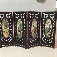 Vtg Chinese Mini 4 Panel Table Screen Carved Rosewood Shell Hand Painted