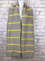 "Oversized Soft Knit Striped Gray and Yellow Scarf Wrap Shawl 92x22"""