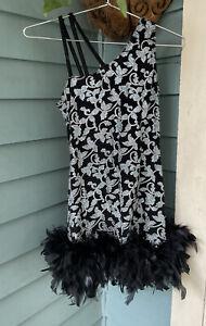Vintage 90s Black Sparkly Metallic Marabou Feather Trim Mini Dress Made In USA