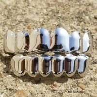 14K White Gold Plated Custom Mouth Caps Tooth Grillz Rappers Hip Hop Grill Set