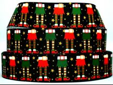 "Grosgrain Ribbon Ribbon 7/8"" & 1.5"" Christmas Elves shoes & Sock Printed."