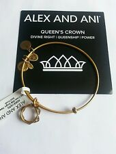 Alex and Ani QUEEN'S CROWN I Charm Bangle Bracelet NWT BOX Card Gold RETIRED