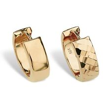 Reversível Bright & Diamond-Cut Huggie-Aro Brincos De Ouro 10k