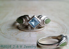 Vintage Sterling Silver 925 Blue Topaz and Australian Lime Inlay Ring Size 10