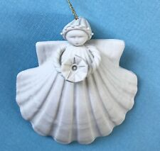 """1996 Margaret Furlong 3""""Angel Shell Ornament-Morning Glory Signed! & Retired!"""