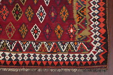 VINTAGE Geometric Burgundy Kilm Kashkoli Flat-Woven Area Rug Wool Carpet 5'x8'