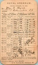 1919 Royal Arcanum Druid Council No.806 Monthly Assessment Card Columbia SC