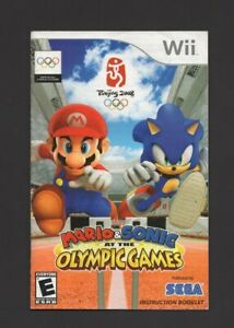 Mario Sonic Olympic Games 2008 Wii MANUAL ONLY Authentic Worn