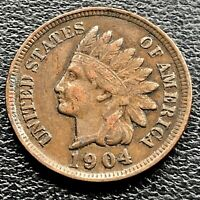 1904 Indian Head Cent 1c One Penny Higher Grade VF #21125