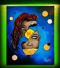 Original Painting Surrealism Woman Planets Detailed Bright Modern Art 16x20