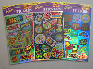 3 Packages Christian Foil Bright Stickers, Bible Study or Scrapbook Activity