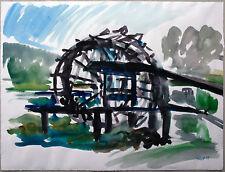 Theodor Fürst 1949-2008: Mühlrad, großes Aquarell 1979 Expressiver Realismus
